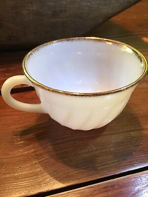 Set of 9 Vintage Fire King Milk White Glass Gold Rim Coffee Cups Oven Ware VG