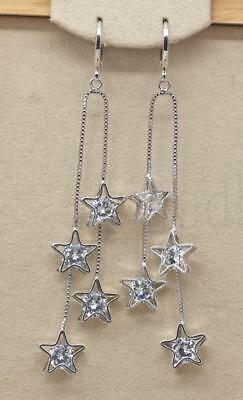 18K White Gold Filled- 3.2'' Tassels Hollow Star Topaz Zircon Cocktail Earrings