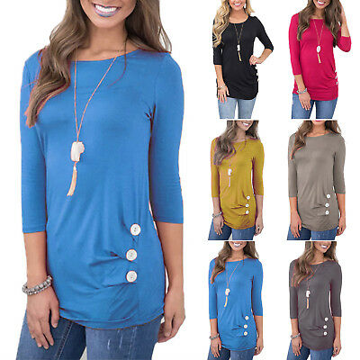 Plus Size Womens Loose 3/4 Sleeve Button Ladies Casual Tunic Tops T-Shirt Blouse
