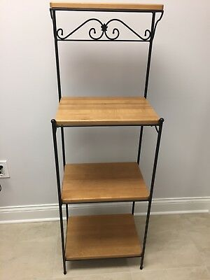 Longaberger Wrought Iron 4 Tiered Bakers Rack with Wood Shelves