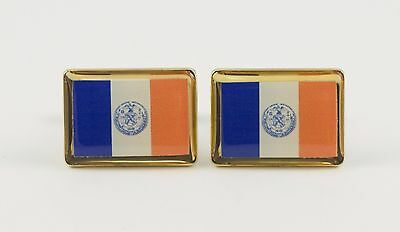 New York City Flag Cufflinks--United States of America USA US Patriotic NYC