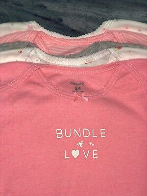 """NEW! Baby Girls 5-Pack CARTERS """"BUNDLE OF LOVE"""" One-Piece Bodysuits -SZ 24 Mos."""