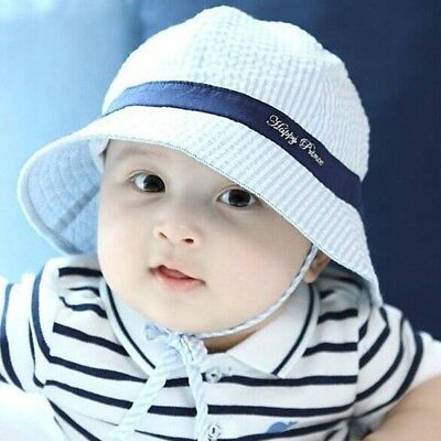 Cute Summer Baby Boys Girls Toddle Kids Striped Sun Hat Cotton Bucket Pots Cap