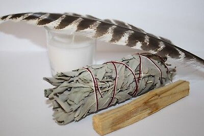 White Sage, Palo Santo, Feather & Candle Cleansing Kit