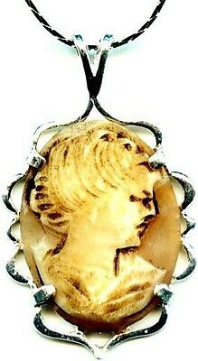 Antique 1850's Italian Hand Carved Torre Del Greco Sea Shell Cameo Lady Sterling
