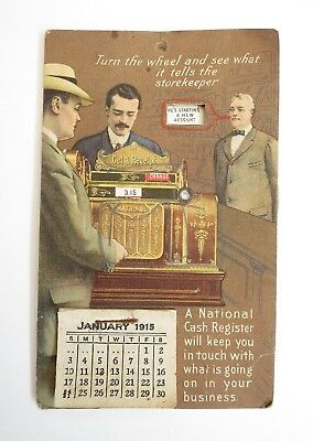 Antique NCR National Cash Register 1915 Mechanical Calendar Trade Card Complete