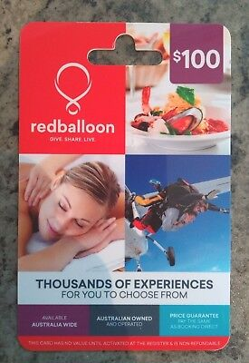 Red Balloon $100 Gift Card - Purchase Date 12.2017 - Expiry 12.2018