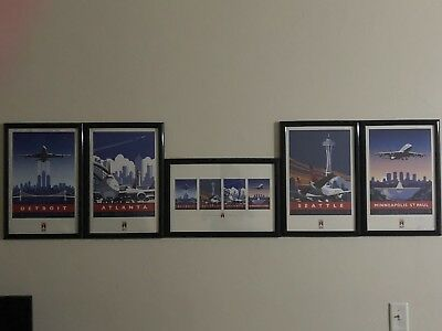 5 Delta Airlines 747 Tour Commemorative Posters Framed and Command Hangers