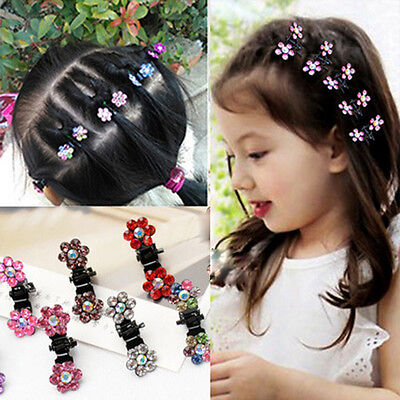 10Pcs Baby Girl Lady Crystal Flower Mini Hair Claw Clamp Clip Kids Hairpin New