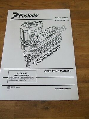 PASLODE IM90I USER manual and schematics for nailgun instructions ...