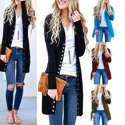 Women Long Sleeve Slouchy Front Open Cardigan Draped Midi Sweater Jacket Clothes