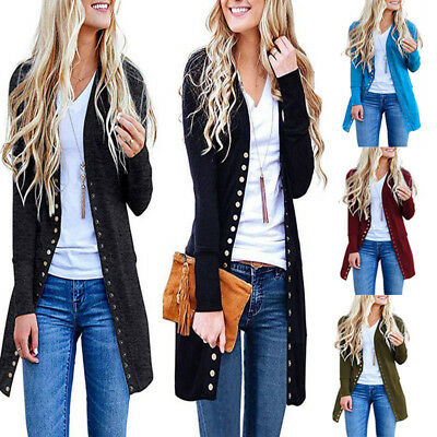 Womens Ladies Long Sleeve Slouchy Front Open Cardigan Draped Midi Sweater Jacket