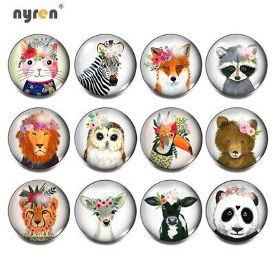 12pcs Footprint Glass Snap Charms 18mm Snap Button For 20mm Snap Jewelry 0115
