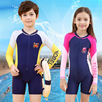 Kids One Piece Swimwear Long Sleeve Short Leg Rash Sun Suit Swimming Surfing