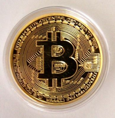 Gold Plated Coins Bitcoin Commemorative Round Collectors Coin Bit Coin + Case #1