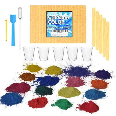 Resin Dye Mica Powder Pigments - 16 Color Complete Mixing Kit