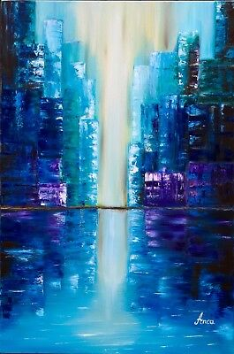 City oil painting on canvas,blue city wall art,modern cityscape painting