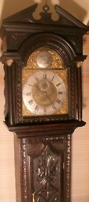 "Antique Carved  Oak  "" Liverpool ""  Brass Dial Longcase / Grandfather Clock"