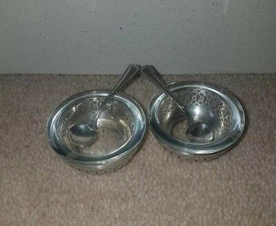Pair of Antique hallmarked Sterling Silver Salt Cellars & Liners