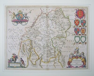 Westmorland: antique map by Johan Blaeu, c1645