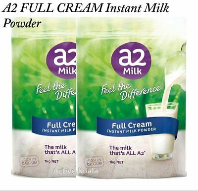 2kg a2 Milk Full Cream Milk Powder (2 x 1kg pack) High in Calcium Camping