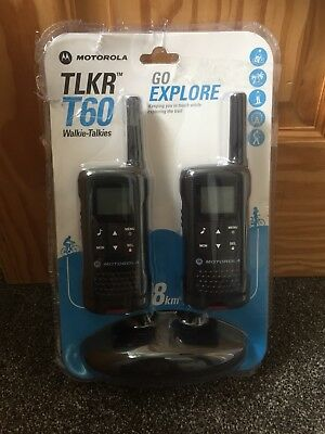 Motorola Talker TLKR T60 2 Way Walkie Talkie 8km PMR 446 Radio 2 Pack
