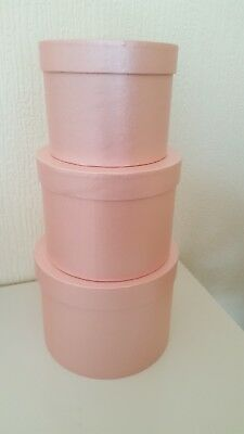 HAT BOXES SET OF THREE IN pink FLOWER BOX FLOWERS fabulous for making your