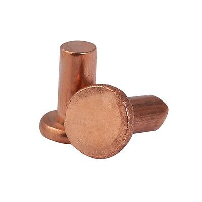 Solid Copper Rivet Nut Insert M5 x 10mm Countersunk Flat Head Male Fasteners