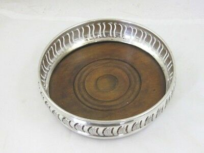 Solid Silver BOTTLE COASTER  Large Size  Hallmarked LONDON 1989