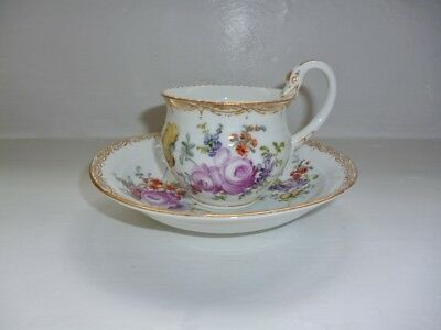 Meissen Handpainted Flowers & Gilt Swan Handle Cup & Saucer Signed