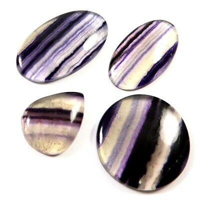 182.30cts Natural Fluorite Gemstone Mix Shape Loose Cabochon 4 Pcs Wholesale Lot