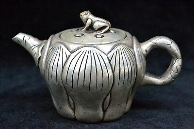 Collectible Chinese Old tibet Silver handwork lotus nut rare big antique Teapot