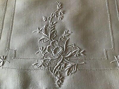 Stunning Antique Irish Linen Table Runner ~ Hand Embroidered Whitework