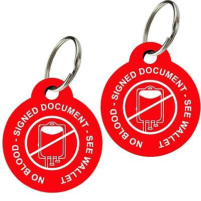 No Blood Tags, Doubled Sided, Premium Aluminum (Set of 2) Jehovah's Witness