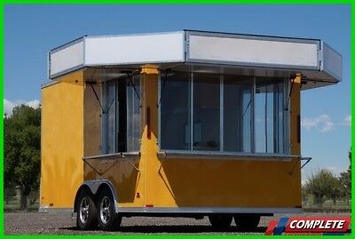 IN STOCK 8.5 X 16 Concession Vending Trailer w/ Marquee Awnings Sinks Electrical