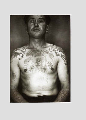 VINTAGE TATTOOED FRENCH CONVICT !! Print !