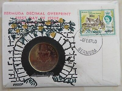1970 Bermuda 50 cents PROOF Decimal Overprint First Day of Issue