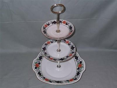 Crown Staffordshire 3-Tier Hostess China Cake Plate Stand A9610
