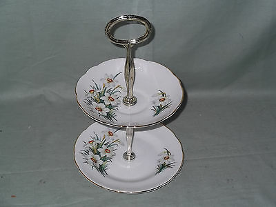 Vintage Regency Bone China Small 2-Tier Biscuit Cake Plate Stand Narcissus
