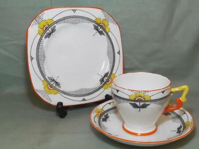 Vintage Delphine Bone China Trio Tea Cup Saucer & Side Plate  Deco Orange 1286