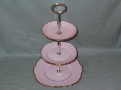 Vintage Royal Vale 3-Tier Hostess Cake Plate Stand Pink & Gold