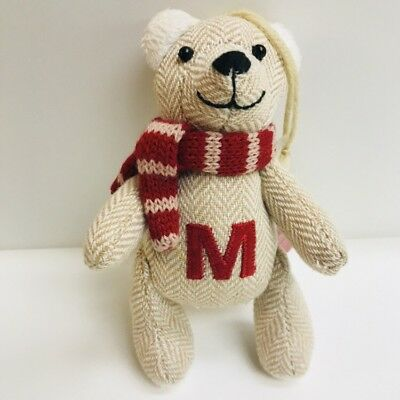 St Nicholas Square Fabric Teddy Bear Christmas Ornament Letter M Initial
