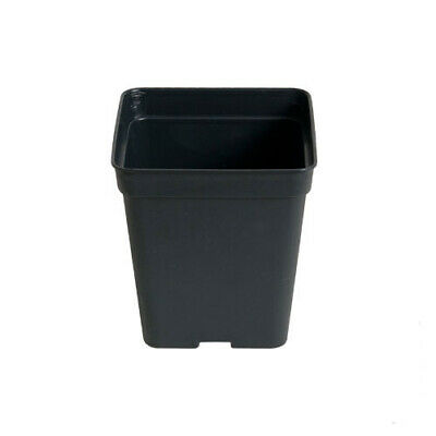 10x Black Square Growing Pots for Plants - 13x13x10cm (2,2L)