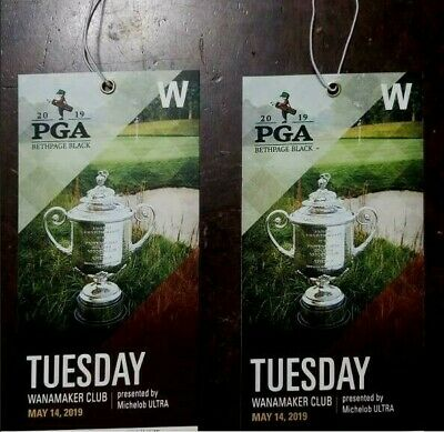 (2) 2019 PGA Championship Tuesday Practice ***Wanamaker Club*** Access Tickets