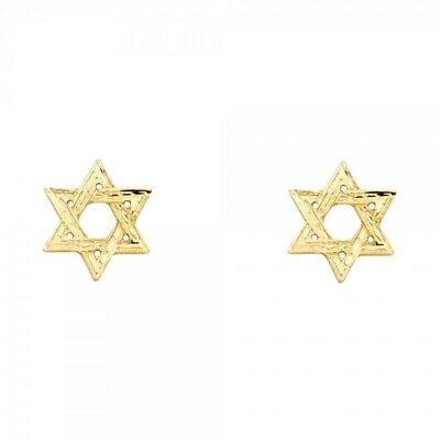 Real Solid Religious Jewish Star Post Earrings Yellow 14K Gold 0.6grams 10X10mm
