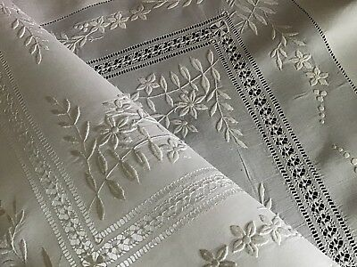 Stunning Antique Irish Linen Large Table Centre ~ Whitework/drawn Thread/mono