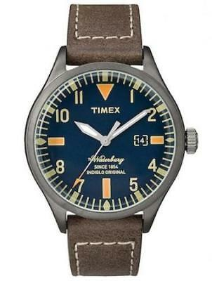 Timex TW2P83800, Men's Brown Leather Watch, Indiglo, Waterbury Collection