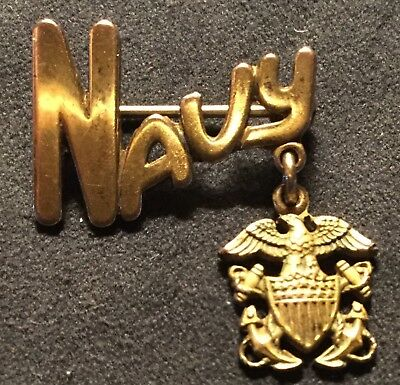 Vintage WW2 ERA US NAVY SWEETHEART PIN by AMICO 1/20 10K G on S