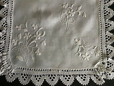 Lovely Antique Linen Tray Cloth/table Centre Piece~ Whitework/lace