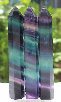 226g  AAA+ Natural Bright-coloured FLUORITE CRYSTAL POINT HEALING